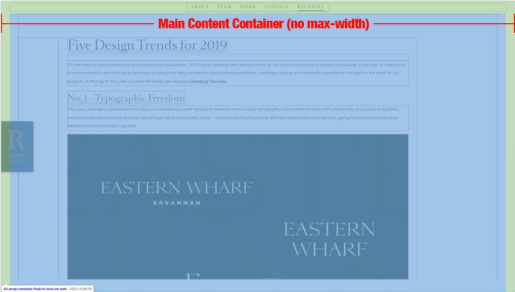 no maximum width container